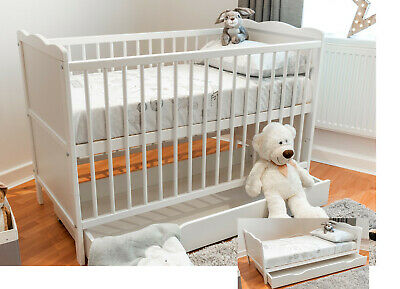 White Baby Cot Bed 140x70 or 120x60cm Cotbed Mattress, Junior Bed with Drawer