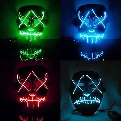 Halloween EL Wire Mask The Purge Movie Cosplay Party Flashing Led Light Mask Lot