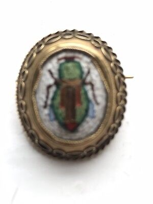 Antique Egyptian Revival Scarab Micro mosaic Brooch/pin