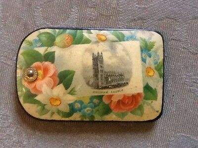 Antique Victorian aide memoire/wipe clean notebook with picture Wrexham Church