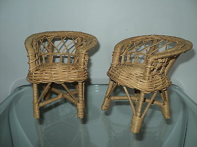 Wicker Patio Chairs Furniture For/fits Barbie & Monster High Size Dollhouse