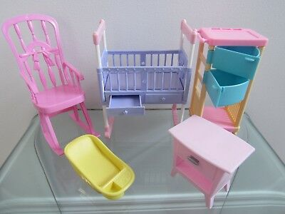 5 Piece Furniture Lot (Rocking Chair,crib...) Fits/for Mattel Barbie Doll