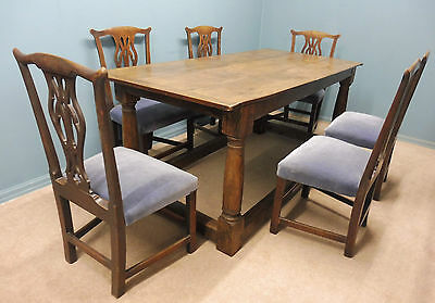 Antique Oak 18Th Century  Table And Six Chairs