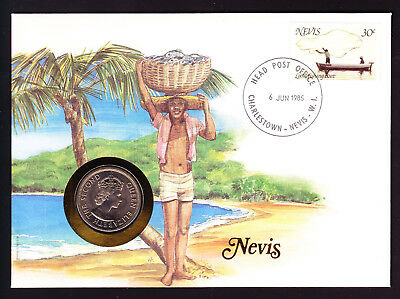 1985 Nevis Local Fishing Boat stamp & coin on cover Native with Basket Tropical