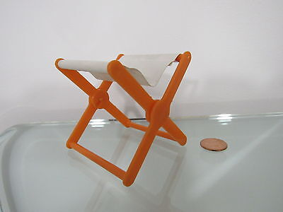 Vintage Mattel White/orange Folding Camp Chair For/fits Barbie Dollhouse
