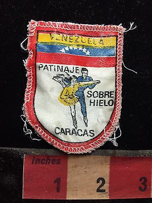 Vtg Caracas Venezuela Patinaje Sobre Hielo Ice Skating South America Patch C76F