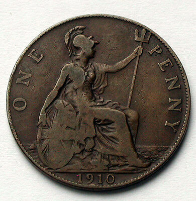 1910 UK (British) Edward VII Coin - One Penny (1d) -