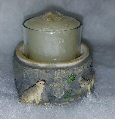 "2"" Multi Color Stone Wall And Wolves Candle Holder w/ NEW Candle"