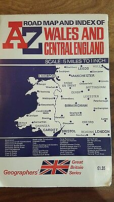 Vintage Road map and index of wales and Central England by Geographers