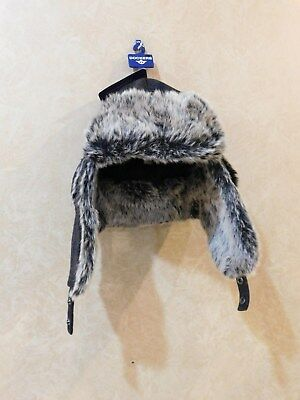 72e9aa078d42 Dockers Mens Plaid Trapper Hat with Faux Fur Lining, Charcoal, Sz S/M