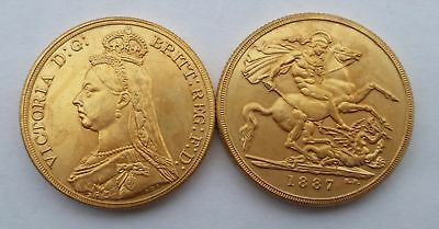 1887 St George And Dragon/Queen Victoria Gold Plated 2 Pounds Double Sovereign