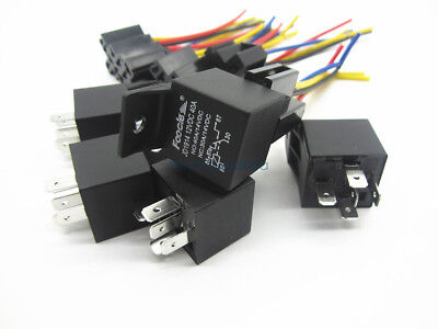 5Pcs 12V DC Car SPDT Automotive Relay 5 Pin 5 Wires W/Harness Socket 30/40 Amp