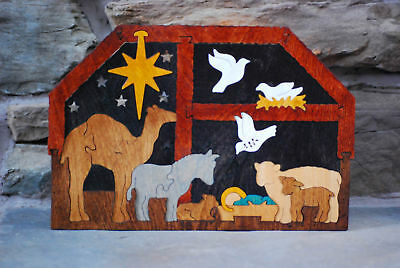 Manger Stable Christmas Nativity Wooden Puzzle NEW Amish Made