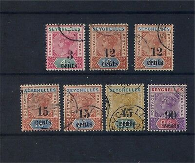 Seychelles QV 1893 surcharged set fine used.