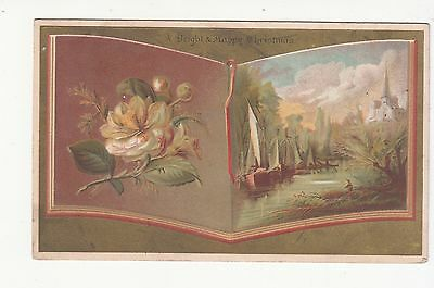 A Bright & Happy Christmas Book Rose Sailboats Ada Verse Vict Card c1880s