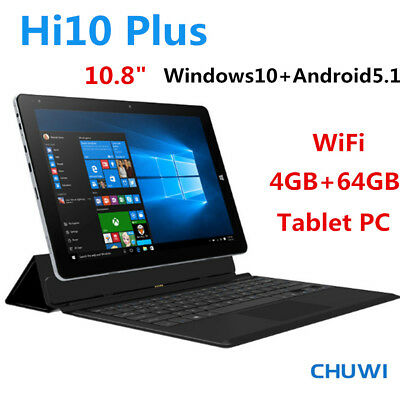 "10.8"" CHUWI Hi10 Plus Tablet PC BT Windows10+Android5.1 4Core 4G+64G 3G WIFI OTG"