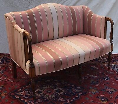 Sheraton North Shore Styled Antique Tiger Maple Inlaid Mahogany Settee