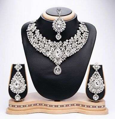 New Bollywood Indian Costume Jewellery Necklace Set With Earring And Tikka