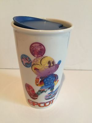 Disney Parks Starbucks Mickey Epcot Ceramic Coffee Tumbler Travel Mug New