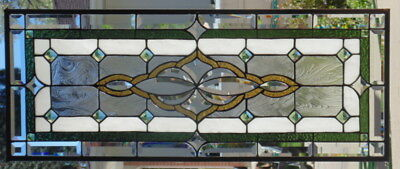 Stained Glass window Transom  hanging 35 X 14