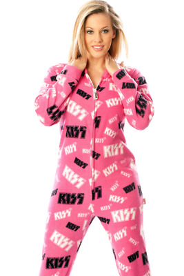 Unisex KISS Fleece Footed Pajamas - Adult Sized Pink Footie Hooded PJ