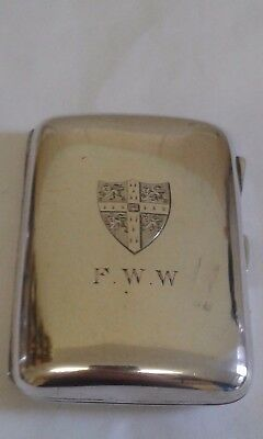 Antique Silver Cigarette Case engraved with a shield - 1908 - 110 gms.