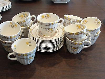 Spode Buttercup 12 Cups + Saucers
