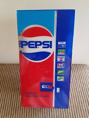 Vintage Pepsi Cola Soda Machine Box Of 3 Mens Handkerchiefs New