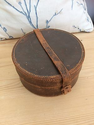 Large Leather Collar Box Vintage Travel Case Mens Old Pre-War Luggage Art Deco