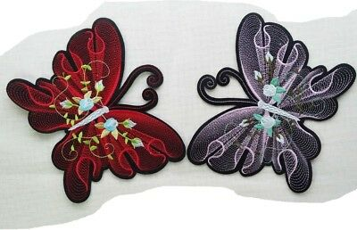 Écusson patch applique thermocollant ** 20 x 17 cm ** GRAND PAPILLON BRODÉ FLEUR