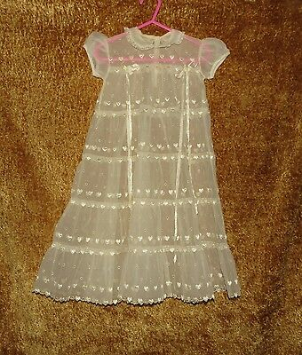 Lovely Vintage Sheer Embroidered Hearts Eyelet Christening Baptism Gown  6-12 M?