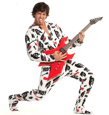 """Unisex KISS White """"Lick It Up"""" Hooded Polar Fleece Adult Sized Footed Pajama"""