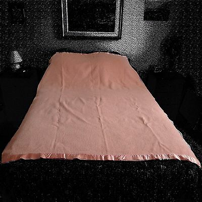 """NICE VINTAGE AYERS SALMON PINK  BLANKET -  72"""" x 54""""  -  in good condition"""