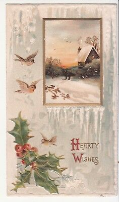 Hearty Wishes Christmas Holly Birds Snow Cabin Embossed Victorian Card c 1880s