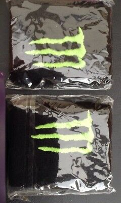 Monster Energy Green Claw Wrist Sweat Bands x 1 Pair Brand New Running, Squash