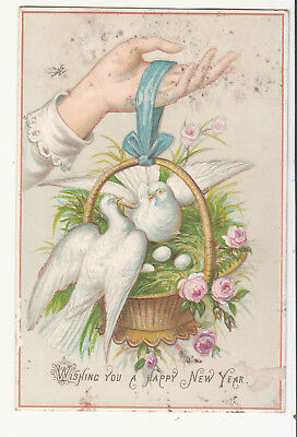 Wishing You a Happy New Year Doves in Basket of Grass Victorian Card c 1880s