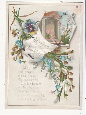 May Flowers Thy New Year's Path Window Pansies Verse  Victorian Card c 1880s