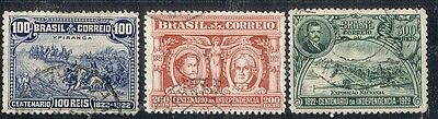 Brazil. 1922  Independence Centenary.  SG432-434.  Used.