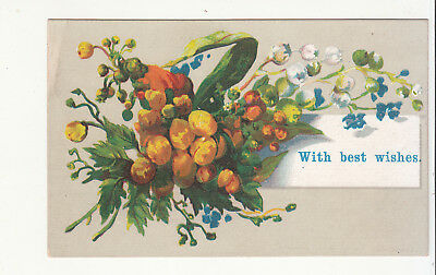 With Best Wishes Posy of Flowers Victorian Card c 1880s