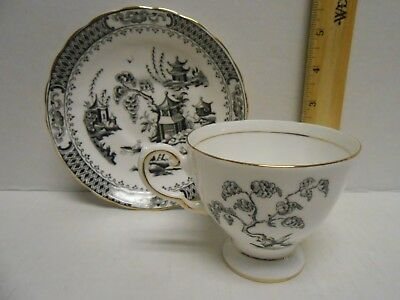 Tuscan Fine English Bone China Footed Cup & Saucer Black White