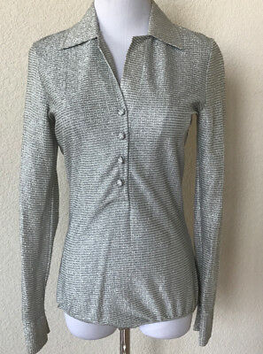 VINTAGE 70s 80s  Disco Womens Top Body suit Button Down Silver Metallic Small