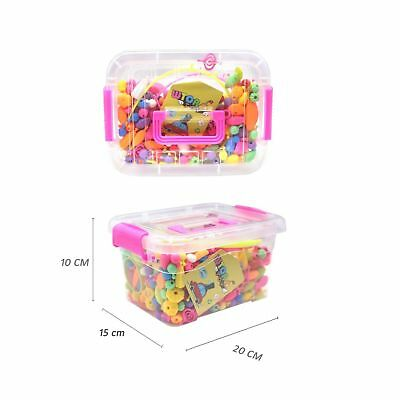 WTOR Pop-Arty Beads 500Pcs Snap-Together Kid DIY Bead Toys made Jewelry N... New