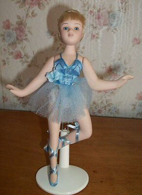 """Adorable  8"""" bisque Ballerina doll with blonde hair and blue tutu ~ with Stand"""