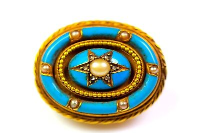 ANTIQUE 15CT GOLD BLUE ENAMEL PEARL & DIAMOND BROOCH c1850