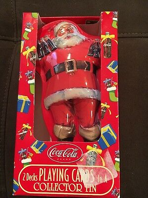 Coca-Cola Santa Tin With 2 Decks Playing Cards Never Opened! W/Free S/H!