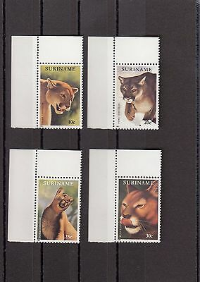 Timbre Stamp  4  Suriname Y&t#1225-28  Felin Puma Neuf**/mnh-Mint 1991 ~A07