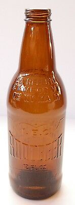 Antique Collectible Brown Embossed 12fl.oz. IBC Rootbeer Bottle from the 1950's