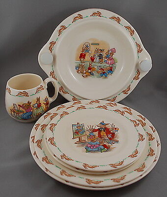 Vintage Royal Doulton's Bunnykins Collection - 6 Pc. Porcelain Nursery China Set