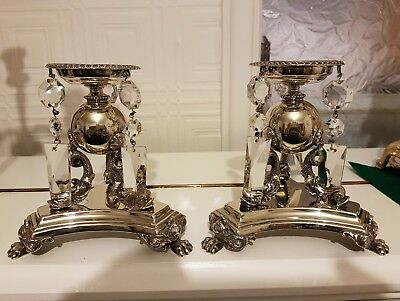 Antique Victorian Mappin Brothers Silver Plated Candlesticks.