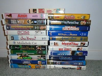 Lot 23 VHS Tapes Childrens Movies Disney, Warner Bros Clamshell Case